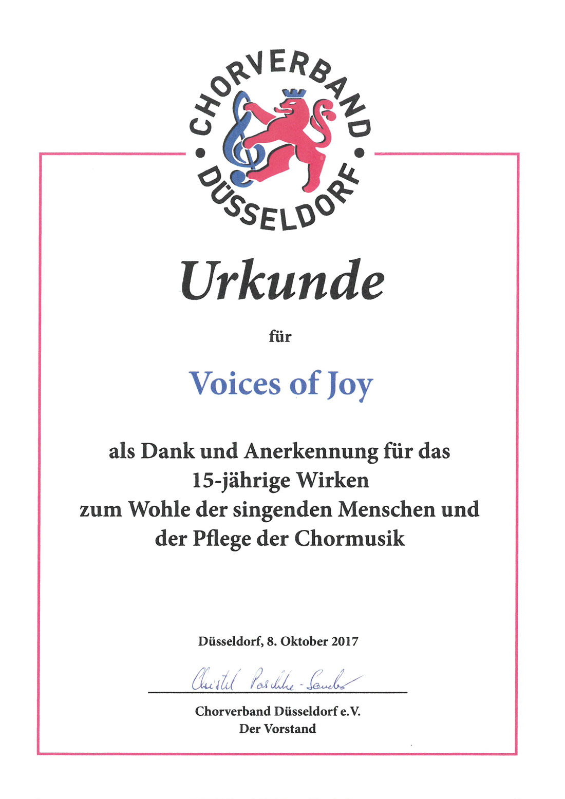 Gospelchor Düsseldorf Urkunde Voices of joy